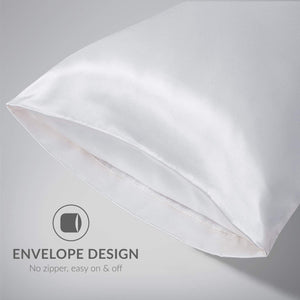 Bedsure Satin King Size Pillow Cases Set of 2, White, 20x40 inches - Pillowcase for Hair and Skin - Satin Pillow Covers with Envelope Closure