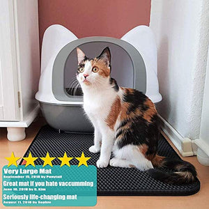 "Pieviev Cat Litter Mat Litter Boxes Trapper Mat of Jumbo Size 29"" X 23"", Honeycomb Double-Layer Waterproof Urine Proof Material, Easy Clean Washable and Floor Carpet Protection (Ivory Black) PIE-013"