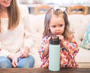 Simple Modern 14 oz Summit Kids Water Bottle with Straw Lid - Hydro Vacuum Insulated Tumbler Flask Double Wall Liter - 18/8 Stainless Steel -Winter White
