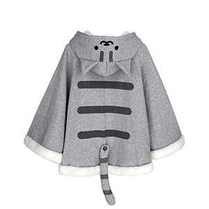 CORIRESHA Gray Cute Catpaw Print Soft Fleece Outwear Chi's Sweet Home Cat Cape with Cat Ears One Size