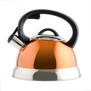 Mr. Coffee Flintshire Stainless Steel Whistling Tea Kettle, 1.75-Quart, Copper