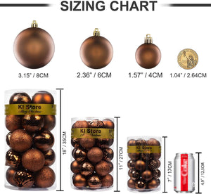"KI Store Christmas Balls Shatterproof Christmas Tree Ornaments Decorations for Xmas Trees Wedding Party Home Decor (3.15"", Brown)"