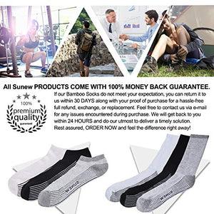 Bamboo Dress Socks, Sunew Men's Breathable Moisture Control Indoor Home Sport Crew Sweaty Socks, Soft Durable Non Slip Trekking Hiking Cycling Socks with Seamless Toe,6 Pairs White/Black/Gray XL X-Large 2black/2white/2grey-bamboo Crew Socks