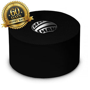 Hampton Adams Black Athletic Tape - 45ft Per Roll - No Sticky Residue & Easy to Tear - for Sports Athletes & Crossfit Trainers as First Aid Injury Wrap: Fingers Ankles Wrist - 1.5 Inch x 15 Yards per Roll (3 Pack)
