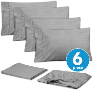 Sweet Home Collection Quality Deep Pocket Bed Sheet Set 2 EXTRA PILLOW CASES, VALUE, Queen, Dobby Silver, 6 Piece