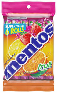 Mentos Chewy Mint Candy Roll, Fruit, Valentines Day Gifts, Bulk, Party, Non Melting, 1.32 ounce/14 Pieces (Pack of 6) PACK6-GSS103999 Pack of  6