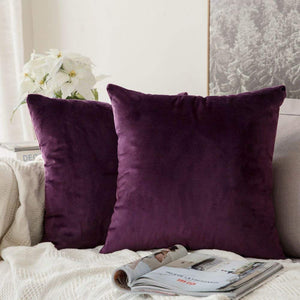 MIULEE Pack of 2 Velvet Soft Soild Decorative Square Throw Pillow Covers Set Cushion Case for Sofa Bedroom Car 16 x 16 Inch 40 x 40 cm Eggplant Purple