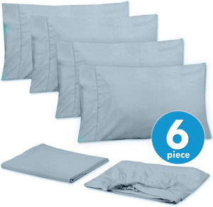 Sweet Home Collection Quality Deep Pocket Bed Sheet Set - 2 EXTRA PILLOW CASES, VALUE, Queen, Misty Blue, 6 Piece