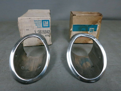 Two NOS Exhaust Bezels for 1963 Corvette P/Ns 3826942 & 3826941 - HARD TO FIND