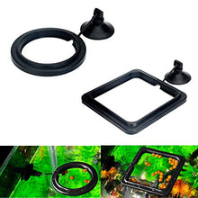 Load image into Gallery viewer, Maxmoral 2pcs Black Fish Feeding Ring Aquarium Fish Tank Mariculture Fishes Floating Food Feeder Circle with Suction Cup(Round and Square)