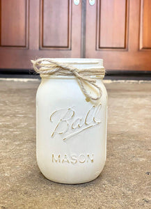 White Painted Pint Size Ball Mason Jar, 16 oz. Painted and Distressed Mason Jar