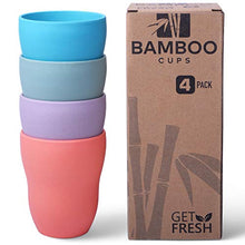 Load image into Gallery viewer, Get Fresh Bamboo Cups 4 Pack, Bamboo Drinkware, Bamboo Fiber Tumblers, Non-toxic Bamboo Dinnerware, Bamboo Fiber Dinnerware Set, BPA Free (Multiple Colours), Bamboo Mugs Set Blue, green, purple, orange