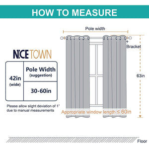 NICETOWN White Window Curtain Panels - 50% Light Blocking Curtains for Bedroom & Dining Room Window (Set of 2 Panels, 42 inches x 63 inches)