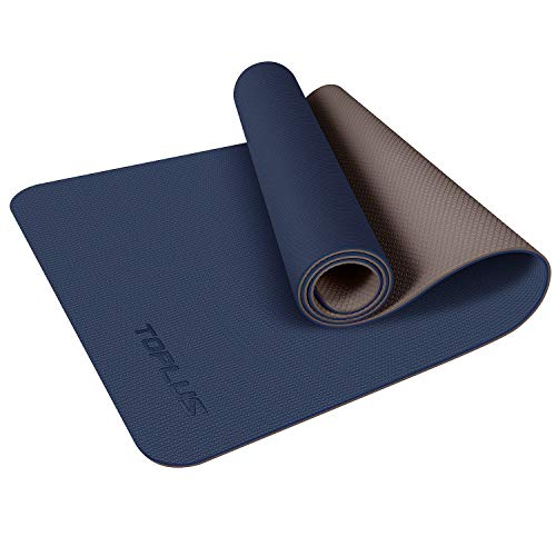 TOPLUS Yoga Mat, Upgraded 1/4 inch Non-Slip Texture Pro Yoga Mat Eco Friendly Exercise & Workout Mat with Carrying Strap - for Yoga, Pilates and Floor Exercises (Blue) 1/4 inch, 2.2lb Blue&Brown TPE, 1/4 inch