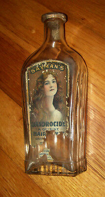 RARE VINTAGE HAIR TONIC, SAYMAN'S DANDROCIDE, DANDRUFF BOTTLE LABEL ANTIQUE CORK