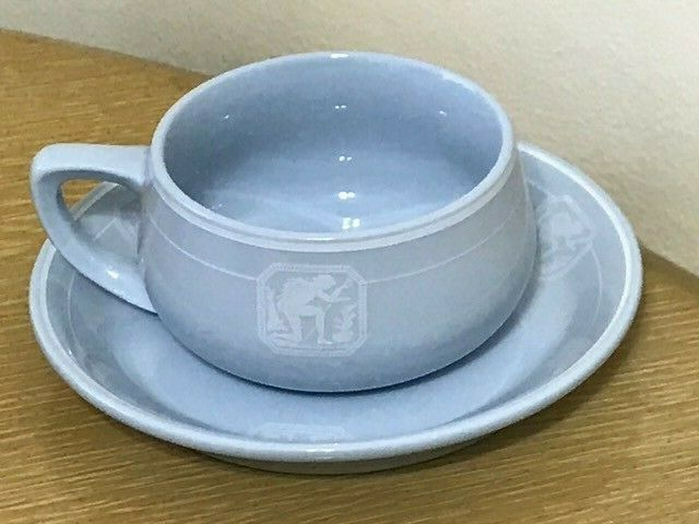 NEW YORK NEW HAVEN & HARTFORD RAILROAD - PLATINUM BLUE COFFEE CUP MUG & SAUCER