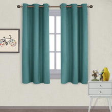 Load image into Gallery viewer, NICETOWN Thermal Insulated Solid Grommet Blackout Curtains/Drapes/Panels for Dining Room (Sea Teal, 1 Pair, 42 by 63-Inch)