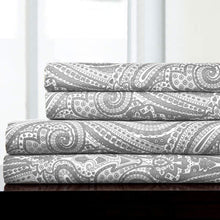 Load image into Gallery viewer, 1500 Supreme Collection Bed Sheets - Luxury Bed Sheet Set with Deep Pocket Wrinkle Free Hypoallergenic Bedding - 4 Piece Sheets - Paisley Print- Full, Gray