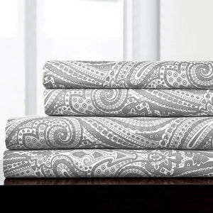 1500 Supreme Collection Bed Sheets - Luxury Bed Sheet Set with Deep Pocket Wrinkle Free Hypoallergenic Bedding - 4 Piece Sheets - Paisley Print- Full, Gray