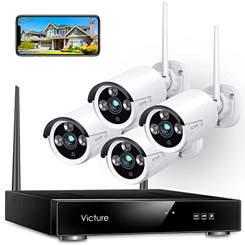 Wireless Security Camera System, Victure 1080P 8 Channel NVR 4PCS Outdoor WiFi...