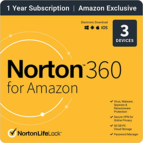 NortonLifeLock EXCLUSIVE Norton 360 for  – Antivirus software for up to 3 Devices Subscription with Auto Renewal [Subscription]