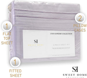 1500 Supreme Collection Extra Soft California King Sheets Set, Lilac - Luxury Bed Sheets Set with Deep Pocket Wrinkle Free Hypoallergenic Bedding, Over 40 Colors, California King Size, Lilac