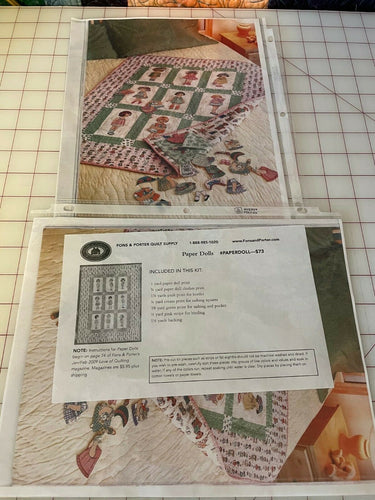 PAPER DOLLS QUILT KIT100% cotton Windham FONS & PORTER KIT RARE NEW DARLING