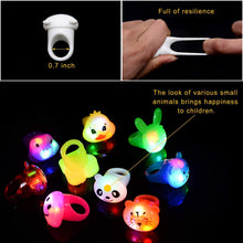 Load image into Gallery viewer, Mikulala Birthday Party Favors for Kids Prizes Flashing 36 Pack LED Jelly Light Up Rings Toys Bulk Boys Girls Gift Blinky Glow in The Dark Party Supplies 9 Color 9 Shape