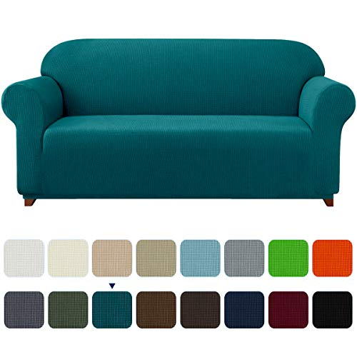 subrtex Stretch Sofa Cover 1-Piece Couch Slipcover Furniture Protector for Arm Chair Loveseat Coat Soft with Elastic Bottom, Polyester and Spandex Jacquard Fabric Small Checks (Large, Turquoise) sofa cover 15
