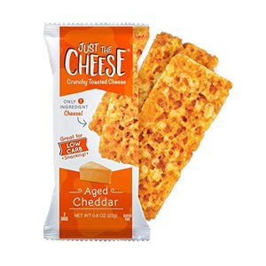 Just the Cheese Bars, Crunchy Baked Low Carb Snack Bars. 100% Natural Cheese. High Protein and Gluten Free (Aged Cheddar) 10 Count
