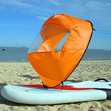 "Load image into Gallery viewer, Hellosay 42"" Foldable Downwind Wind Paddle Popup Board, Kayak Sail Kit Kayak Wind Sail Kayak Accessories (Orange)"