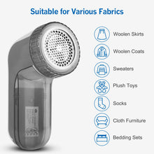 Load image into Gallery viewer, BEAUTURAL Fabric Shaver and Lint Remover, Sweater Defuzzer with 2-Speeds, 2 Replaceable Stainless Steel Blades, Battery Operated, Remove Clothes Fuzz, Lint Balls, Pills, Bobbles (Grey)