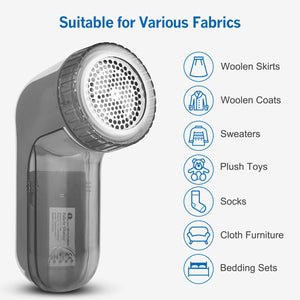 BEAUTURAL Fabric Shaver and Lint Remover, Sweater Defuzzer with 2-Speeds, 2 Replaceable Stainless Steel Blades, Battery Operated, Remove Clothes Fuzz, Lint Balls, Pills, Bobbles (Grey)
