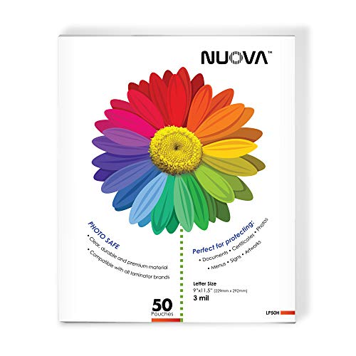 Nuova LP50H Thermal Laminating Pouches 9 x 11.5 Inches, Letter Size, 50-Sheets...