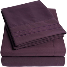 Load image into Gallery viewer, 1500 Supreme Collection Extra Soft Twin Sheets Set, Purple - Luxury Bed Sheets Set with Deep Pocket Wrinkle Free Hypoallergenic Bedding, Over 40 Colors, Twin Size, Purple