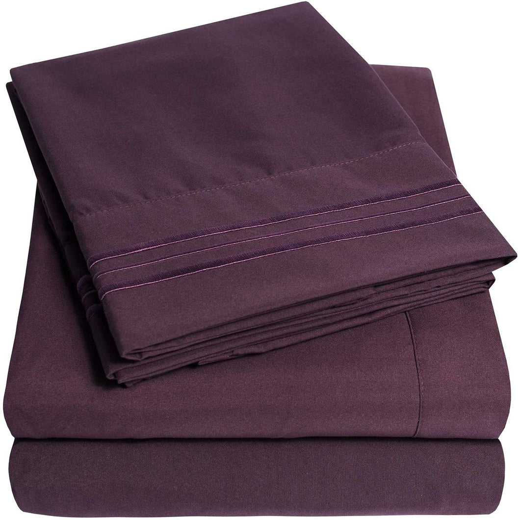 1500 Supreme Collection Extra Soft Full Sheets Set, Purple - Luxury Bed Sheets Set with Deep Pocket Wrinkle Free Hypoallergenic Bedding, Over 40 Colors, Full Size, Purple
