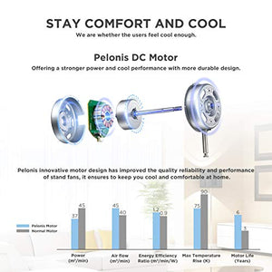 PELONIS PFS40D8AWW Silent Turbo Standing Adjustable Fan, Powerful Quiet Speed, 12 Hour On/Off Timer, 3 Modes, with Remote Control, 16 inch, 16-inch DC Motor Pedestal 2020 New Model