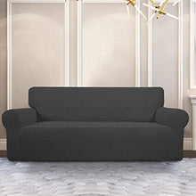 Load image into Gallery viewer, PureFit Stretch Sofa Slipcover – Spandex Jacquard Non Slip Soft Couch Sofa Cover, Washable Furniture Protector with Non Skid Foam and Elastic Bottom for Kids (Sofa, Dark Gray) Large