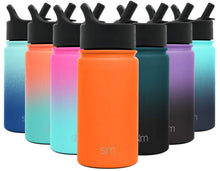 Load image into Gallery viewer, Simple Modern 14 oz Summit Kids Water Bottle with Straw Lid - Hydro Vacuum Insulated Tumbler Flask Double Wall Liter - 18/8 Stainless Steel -Autumn