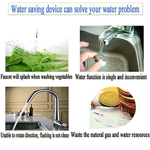DUDUA 360 Rotatable Water Saver Faucet Water Saving Filter Sprayer for Bathroom Kitchen Tap Nozzle Filter Adapter Silver