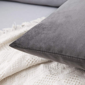 MIULEE Pack of 2 Velvet Pillow Covers Decorative Square Pillowcase Soft Solid Cushion Case for Sofa Bedroom Car 20 x 20 Inch Dark Grey