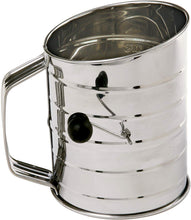 Load image into Gallery viewer, Norpro 3-Cup Stainless Steel Rotary Hand Crank Flour Sifter With 2 Wire Agitator