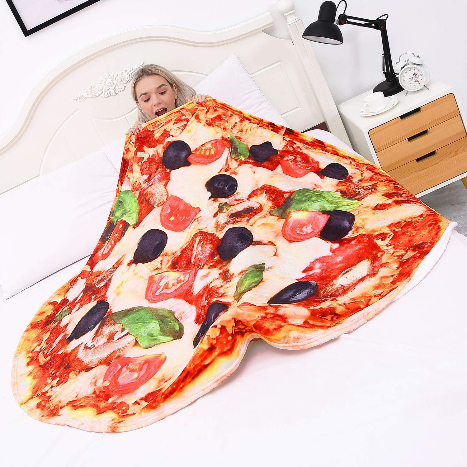 CASOFU Pizza Blanket Giant Pizza Throw Blanket Brown Black, 71 inches Novelty Pizza Blanket for Your Family Soft and Comfortable Flannel Pizza Blanket for Kids.