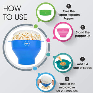 The Original Popco Silicone Microwave Popcorn Popper with Handles, Silicone Popcorn Maker, Collapsible Bowl Bpa Free and Dishwasher Safe - 10 Colors Available (Light Blue)