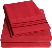 Load image into Gallery viewer, 1500 Supreme Collection Bed Sheets Set - Luxury Hotel Style 4 Piece Extra Soft Sheet Set - Deep Pocket Wrinkle Free Hypoallergenic Bedding - Over 40+ Colors - California King, Red