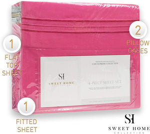 1500 Supreme Collection Extra Soft King Sheet Set, Fuscia- Luxury Bed Sheet Set with Deep Pocket Wrinkle Free Hypoallergenic Bed Sheets, King Size, Peach