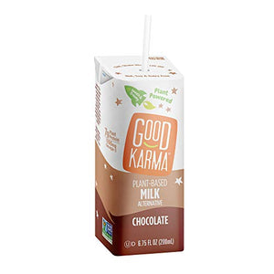 Good Karma Plant-Powered Flaxmilk, Chocolate, 6.75 oz. Lunchbox Carton (Pack of 18) Dairy-Free, Plant Based Milk Alternative 18 Pack