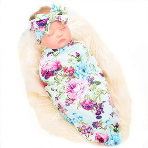 Galabloomer Newborn Receiving Blanket Headband Set Flower Print Baby Swaddle Receiving Blankets SW008 blue rose Small