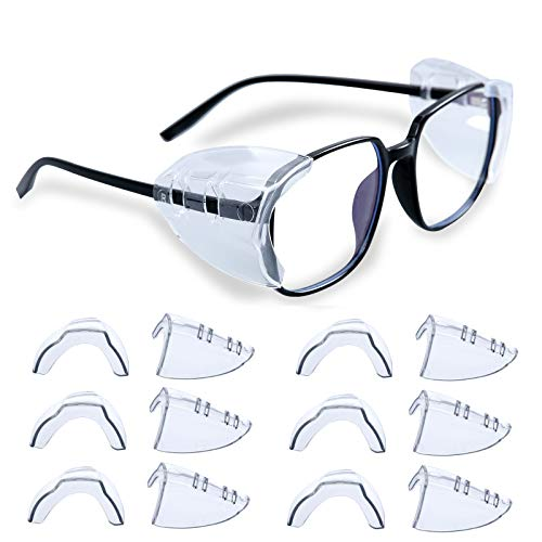 LYIETUR 6 Pairs Eye Glasses Side Shields, Slip On Side Shields for Safety...