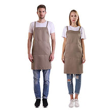 Load image into Gallery viewer, BIGHAS Shoulder Apron with Pocket for Women Men, Extra Long Straps, Adjustable Size, Chef, Kitchen, Home, Restaurant, Cooking, Baking 16 Colors (Tan) 27W×32L